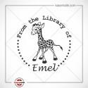 K 217 Zürafa Figürlü Kitap Damgası