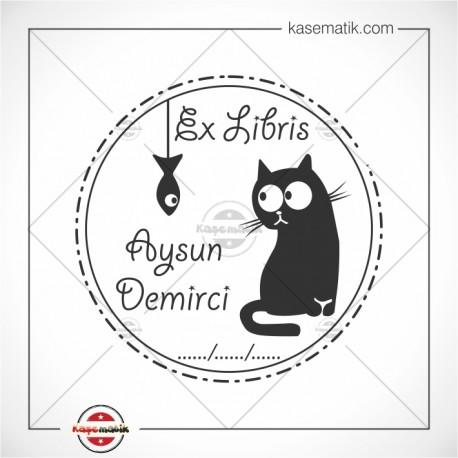 Kedi Balık Ex Libris TAsarımı