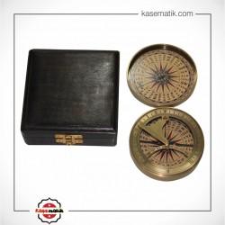 Ahşap Kutulu Pirinç  Pusulası KSK240-11351