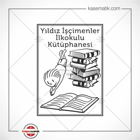 BK 27 Kitapların İçine Dalan Çocuk Büyük Boy Mühür (6x4,3cm)