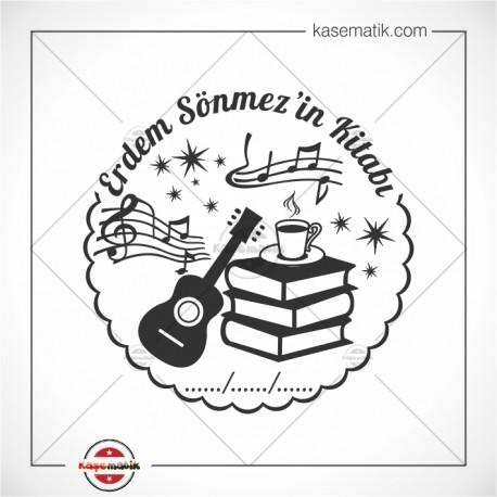 KS 12 Gitar, Kitap, Kahve Müzik Notaları Temalı Mühür