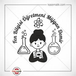 EG 37 Fen Bilgisi Kadın Öğretmen Tasarımlı Kitap Mührü
