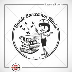 K 403 Hemşire Kitaplar ve Kelebekler Temalı Mühür