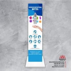 Almanca Ayaklı Dezenfekte Standı tasarım