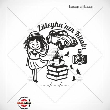 K 435 Kıvırcık Saçlı Kız Vosvos Kitap Temalı Kitap Mührü