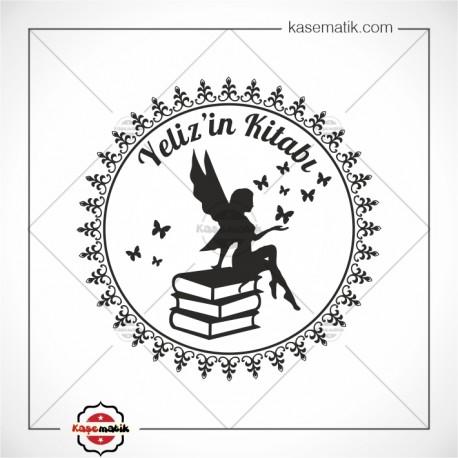 K 436 Kitapların Üzerinde Oturan Melek Kitap Damgası