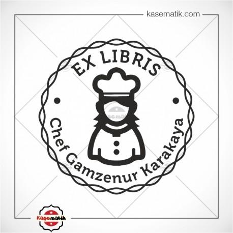 K 482 Kadın Şef Ex Libris Tasarımı