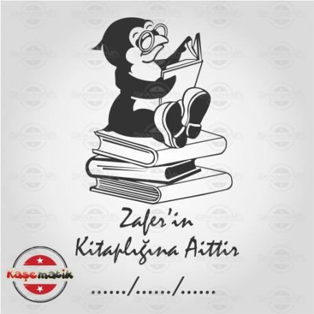 K 18 Kitapların Üzerinde Oturan Baykuşlu Kitap Mührü