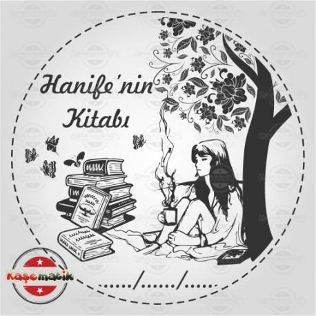 K 44 Ağacın Altında Oturan Kadın Kitap Mührü