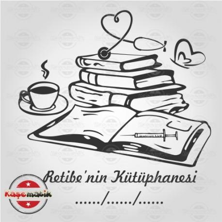 K 49 Kitap Kahve Steteskop Kitap Mührü