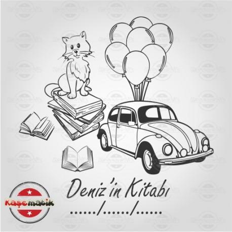 K 58 Kedi ve Uçan Araba Kitap Damgası