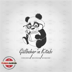 K 60 Kitap Okuyan Panda Kitap Mührü